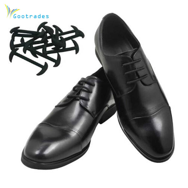 gootrades 12pcs/set 3 Sizes Men Women Leather Shoes Lazy No Tie Shoelaces Elastic Silicone Shoe Lace Suitable Free Shipping