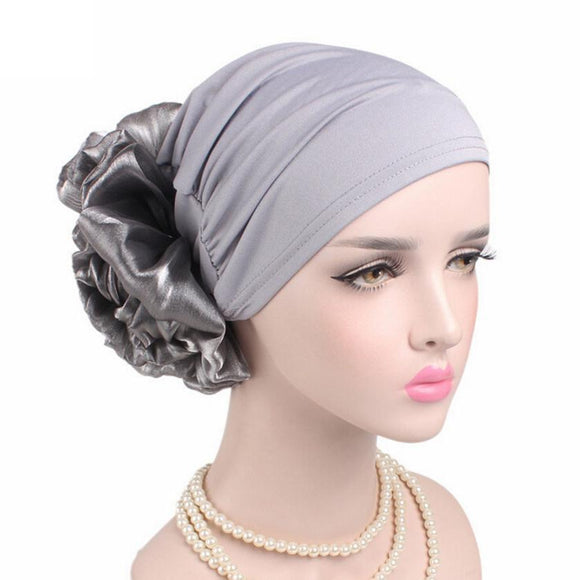 Winter Beanie Hat Women Cancer Chemo Hat Turban Head Wrap Cap Solid Fitted Big Flower Hat Feminino Beanies Hat -  - Drako Store