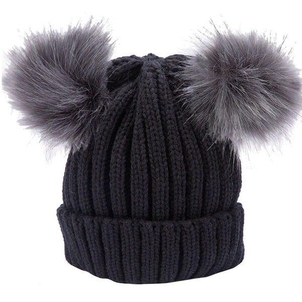 Women Real Fur Pom Pom Hat Autumn Winter Wool Warm Beanie Knitted Skullies Hats Hemming Elasticity High Quality Hat