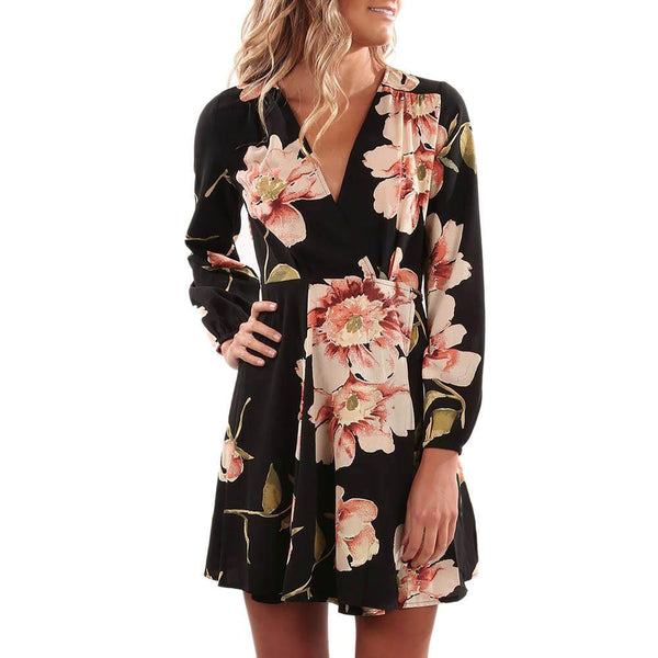 Women Floral Printing V Collar Dress Long Sleeve Mini Dress Fit and Flare Party Dress with Sashes vestidos mujer