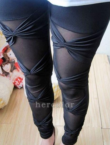 Hot Sexy Ripped Sexy Stretch Vintage Tights Legging Pants Black Leggings -  - Drako Store