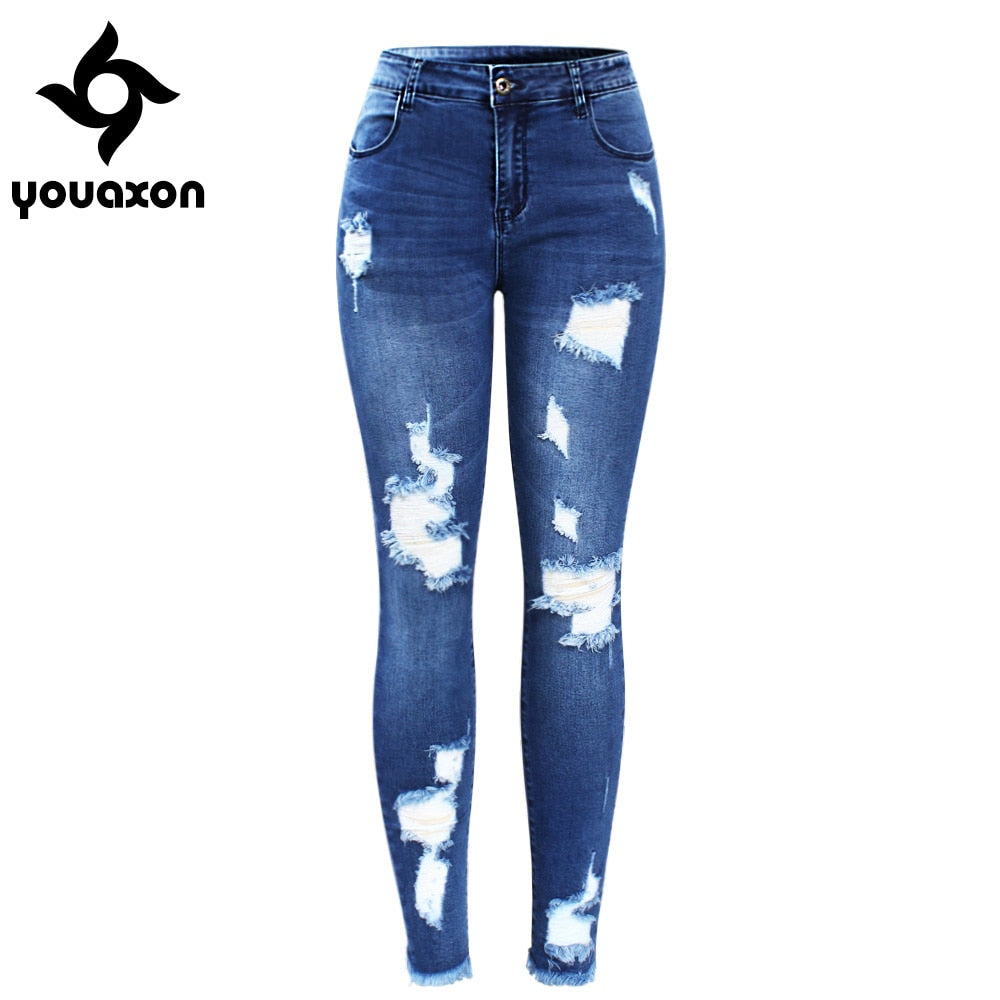 2127 Youaxon New Ultra Stretchy Blue Tassel Ripped Jeans Woman Denim Pants Trousers For Women Pencil Skinny Jeans