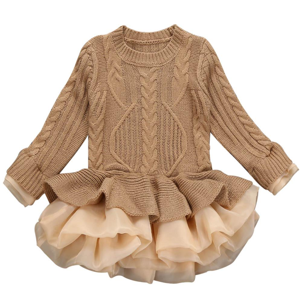Kids Girls dresses Knitted Sweater Winter Pullovers Crochet Tutu Dress girl Clothes drop shipping