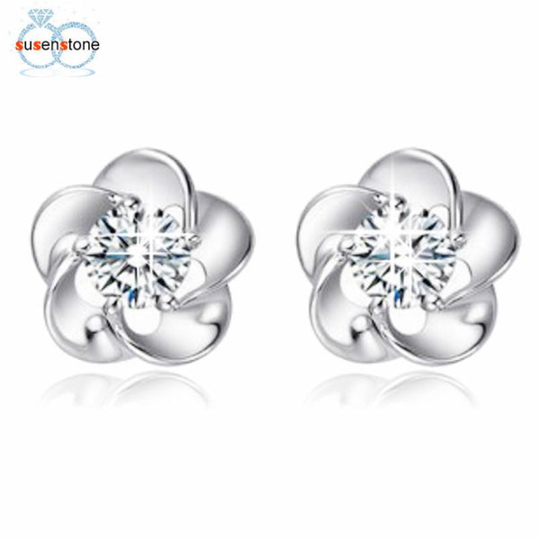 SUSENSTONE Silver plated earrings Rose Flower Shaped Crystal Stud Earrings for Women Ladies Gift fashion jewelry 2016