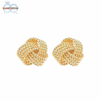 SUSENSTONE Earrings Net knot ring earrings Simple Fashion Ball Slide Silver Plated Ear Stud Earrings Women Jewelry