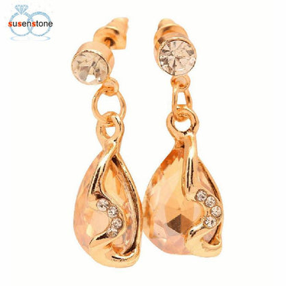 SUSENSTONE Rhinestone And Crystal Jewelry Earrings Water Wedding For Women
