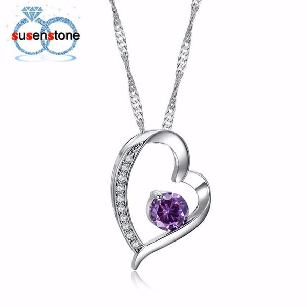 Womens Love Heart Pendant Necklace Beautiful Necklace Jewelry Chain Christmas Day drop wholesale shipping Propose gift #GH30