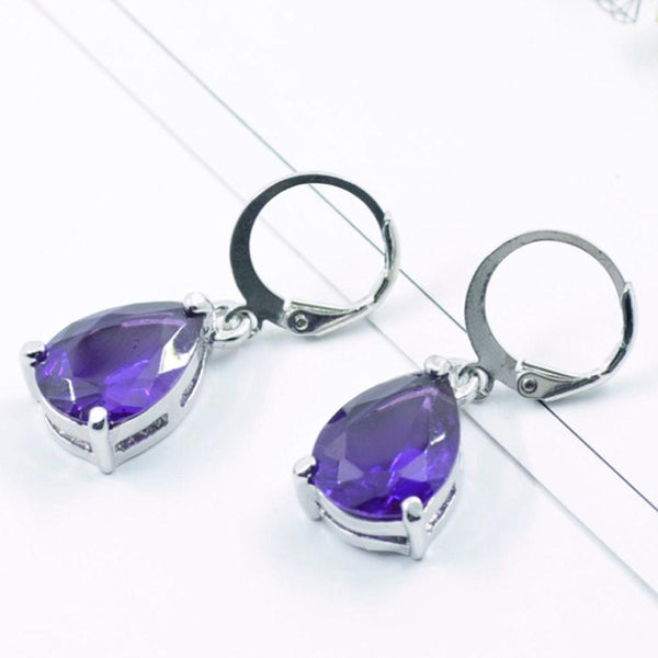 Women Jewelry Vintage Drop Dangle Earrings Elegant Water drop shaped crystal ear button purple #30