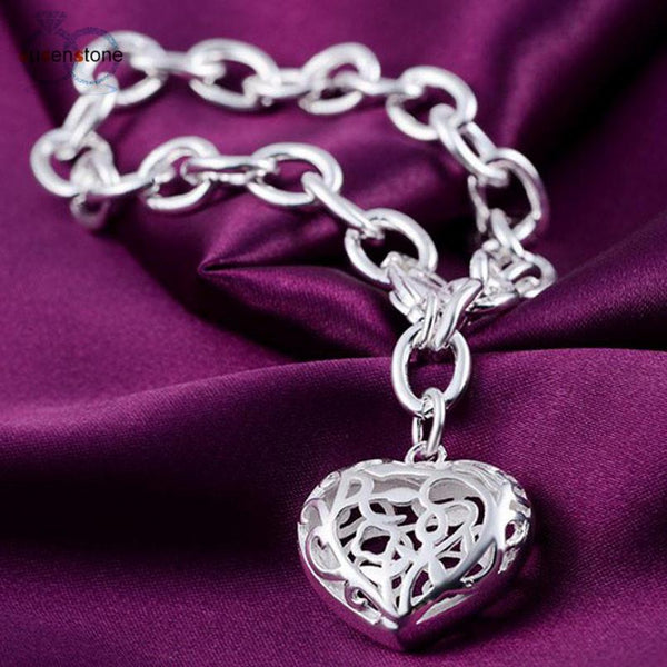 SUSENSTONE Bangle Chain Bracelet New Women Jewelry Sterling Silver Crystal Cuff Charm