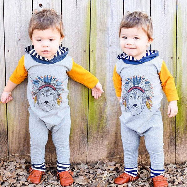 2017 Fashion Spring Autumn Newborn Baby Boys Girls Indian Wolf Hoodie Romper Jumpsuit Outfits Clothes kids children clothing