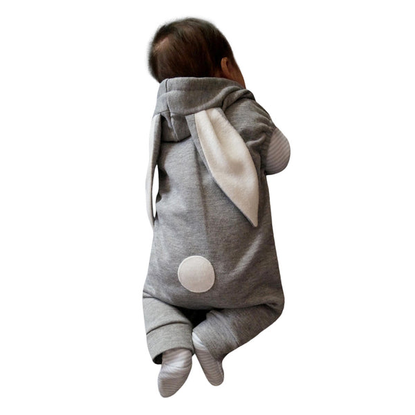 Cute autumn winter baby rabbit ear warm Newborn Infant Kids Baby Boy Girl Romper Hooded Jumpsuit Outfit Clothes Casual Daily
