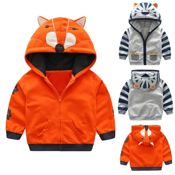 2017 Spring Autumn Baby Boys Girl Clothes Cartoon Animal Pattern Zipper Hooded Jacket Outwear Boy Girl Coat Kids Clothes