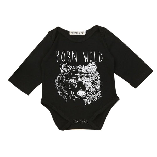 2017 Fashion baby boy clothes Newborn Infant Baby Boys Long Sleeve Wolf Print Letter T-Shirt black Romper Jumpsuit