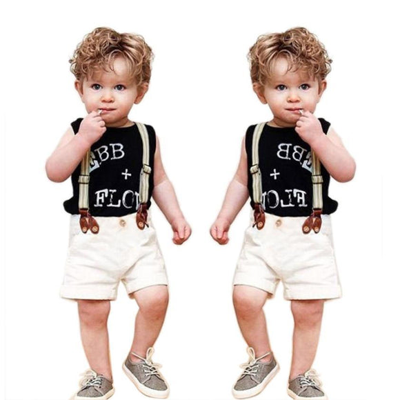 Summer Boys Clothes 2017 Children Baby Boy Clothing Set Gentleman Letter Print TShirt Tops+ Suspender Pants Toddler Kids Clothes -  - Drako Store
