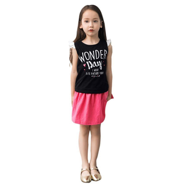 Girls Clothing Sets New 2017 Summer Girls Clothes Kids Tops + Casual Skirts Suits Kids Clothes