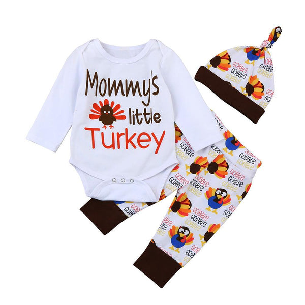 Baby Boys Girls Clothing Thanksgiving Set Newborn Long Sleeve Letter Romper Tops+Pants Hat Infant 3Pcs Toddler Clothes Outfits