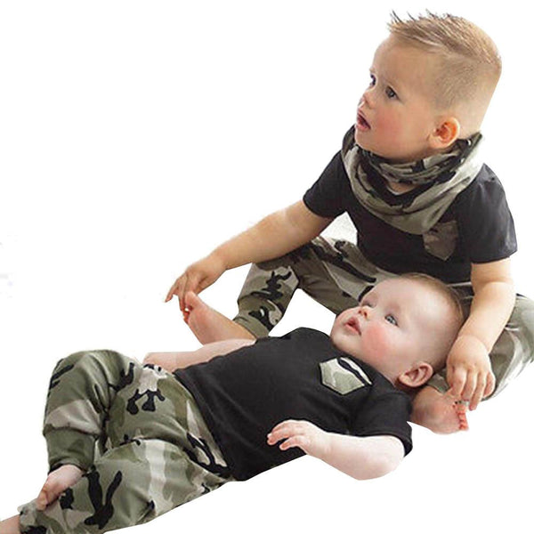 2017 Children Fashion Summer Toddler Boys Girls clothes Set Baby Camouflage Pants Suit Sports Clothes Set Roupas Menino Outfits