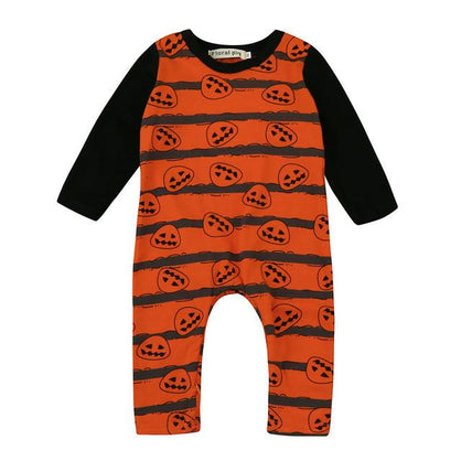 2017 New Fashion Baby Halloween Pumpkin Rompers Baby Clothing Boy Girls Clothes  Romper Long Sleeve Jumpsuit Clothes Outfits