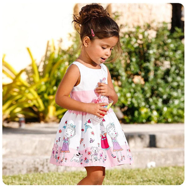 Girls Dresses New Fashion 2016 Summer Baby Dress Baby Girl Clothes Kids Pattern Cotton Dress Girls Clothes With Belt 1pc