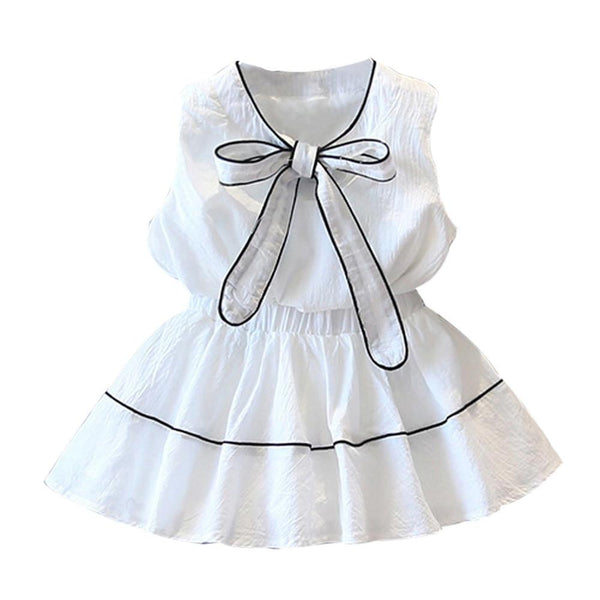 2017 summer Bow princess T-Shirt Tops+Short Skirt 2pcs baby girl clothes sets conjuntos infantis children Dresses Outfits