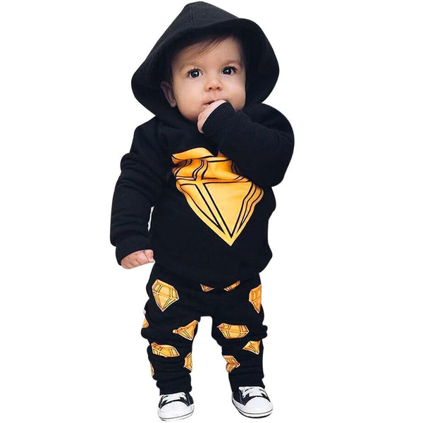 Toddler Newborn Baby Boy Girl Clothes Long Sleeve Hooded T-shirt Tops +Long Pant Print 2PCS Outfit Kids Clothing Set Tracksuit