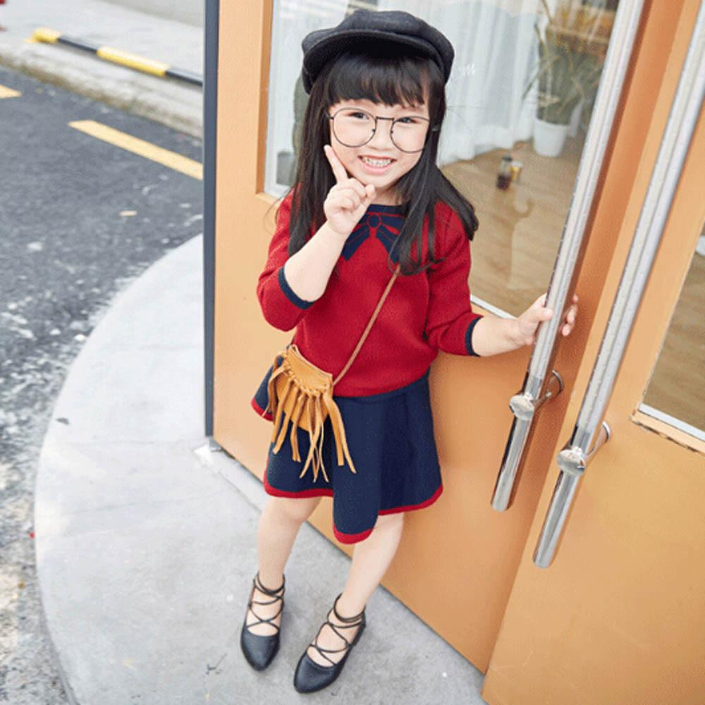 children clothing sets 2017 Autumn winter baby girl clothes top long sleeve bowknot knitted sweater+skirts kids clothes