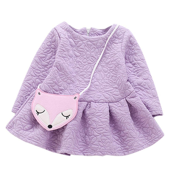 2017 New Fashion Children Kids Dresses With Bag Girl New Pattern Long Sleeved Dress Fox Baby Kids Dress Infant Autumn Dress