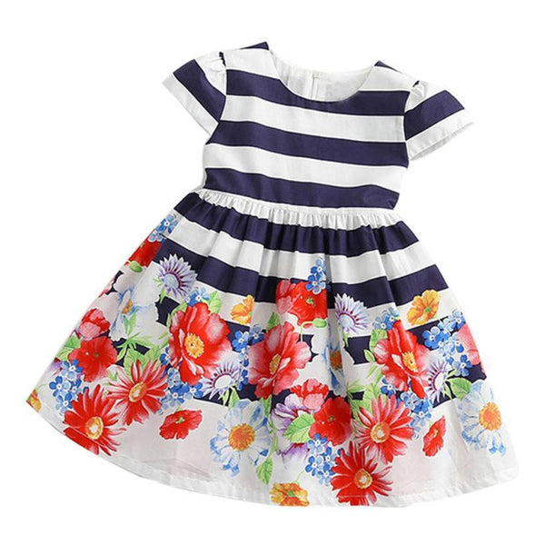 Kids Dress Girls Costume 2017 Toddler Girls Summer Dresses Striped Robe Fille Children Flower Princess Dress for Girl Clothes