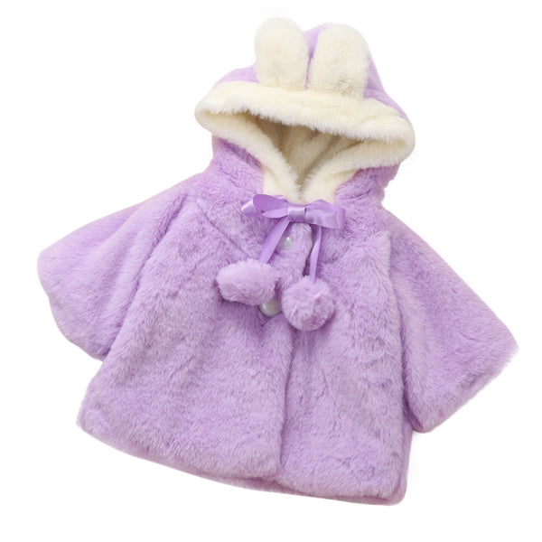 6-24M 2017 Winter Baby Girls cute Outerwear Hooded Coat Kids Fleece Snow Warm Cloak Coat Cloak Jacket Thick Clothes 3Colors