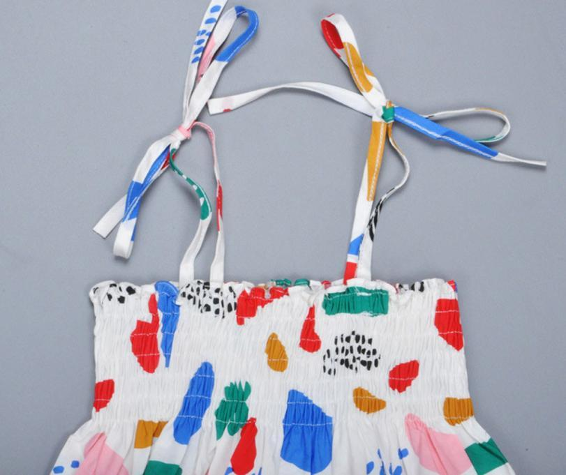Girls Suspenders Dress Kids Dresses Summer 2017 Graffiti Suspenders Girl Dresses For Birthday Party Suspenders Baby Girl Clothes
