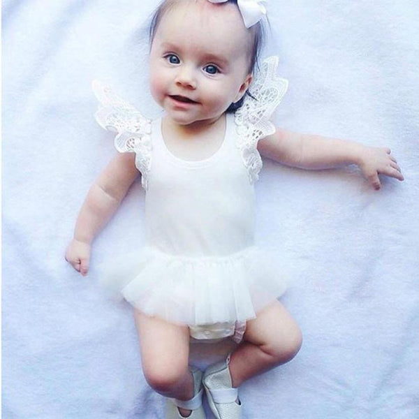 New Baby Girls Jumpsuit Kids Summer Tutu Dress Infant Bodysuit Clothes Outfit 0-24M
