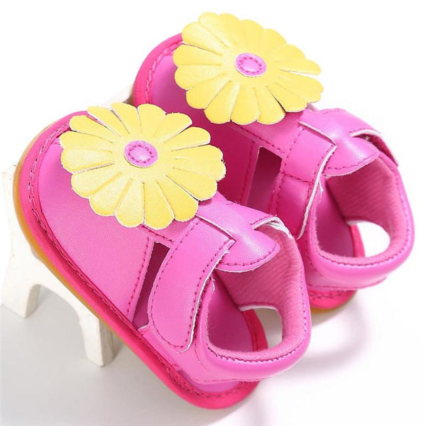 Newborn New Baby Girls Flowers Design Leather Shoes Summer Princess Soft Sole Shoes Sneakers
