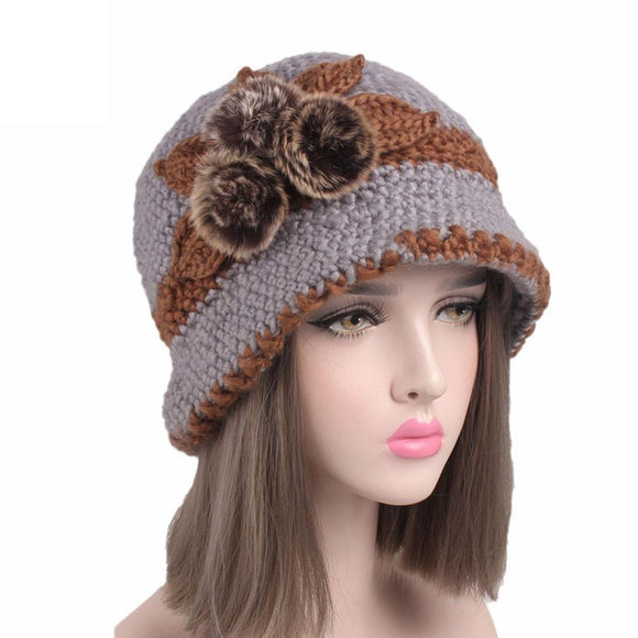 Fashion There Pompoms Fur Winter Women Beanies Hairball Knitting Warming Cap Hat Beanie Turban Head Wrap Cap -  - Drako Store