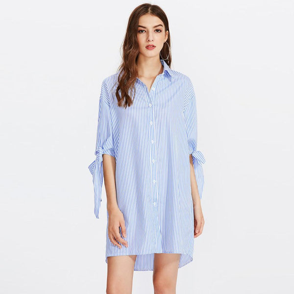 Butterfly Sleeves Autumn Dress Women Buttons Print Vertical Striped Embroidered Workwear Straight Shirt Dress