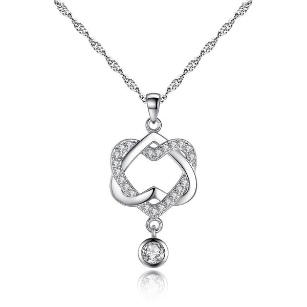 Women Double Heart Pendant Necklace Chain Jewelry Female models Korean Concentric knot Necklace Pendant #45