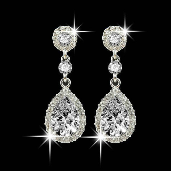 Wedding Jewelry Rhinestone Style Wedding Earrings For Women Blue