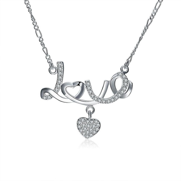 Fashion Women Crystal Diamond Love Heart Pendant Necklace Jewelry