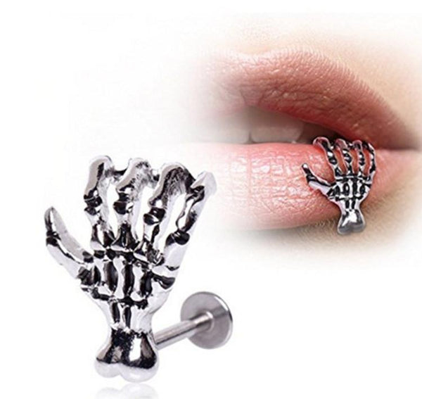 Hot Unique Skull Hand Lip Piercing Jewelry