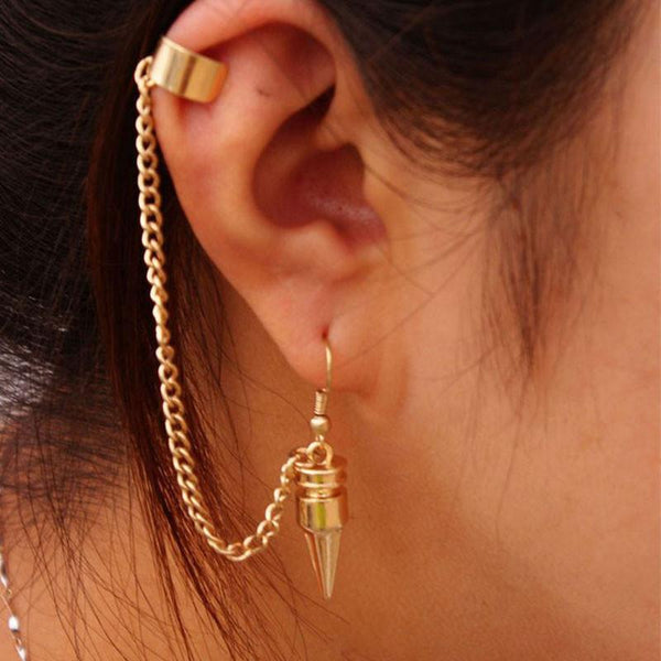 Fashion Punk Style Bullet Pendants Tassel Ear Clip Earrings Jewelry