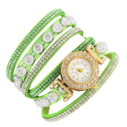 Women Fashion Casual Analog Quartz Women Rhinestone Watch Bracelet Watch