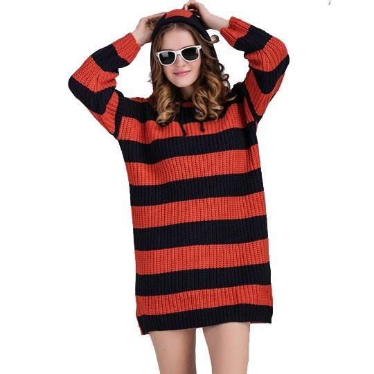 Striped Hooded Women's Sweater Dress -  - Drako Store