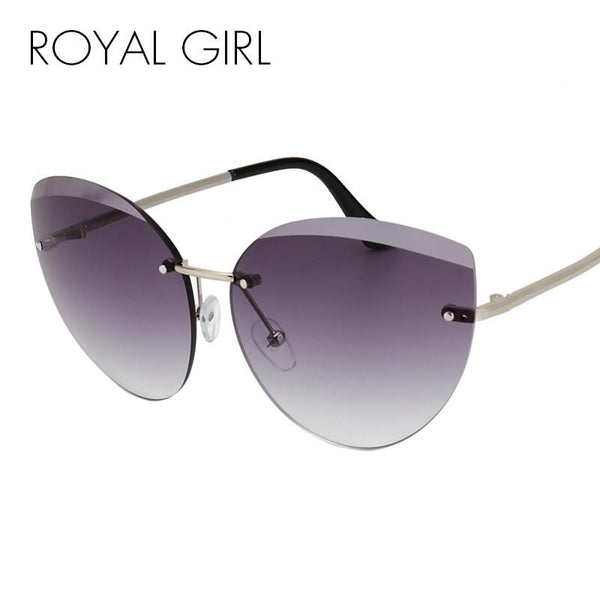 ROYAL GIRL 2017 Newest Fashion Rimless Sunglasses Women Luxury Brand Designer Metal Frame Cat Eye Glasses oculos UV400 ss987