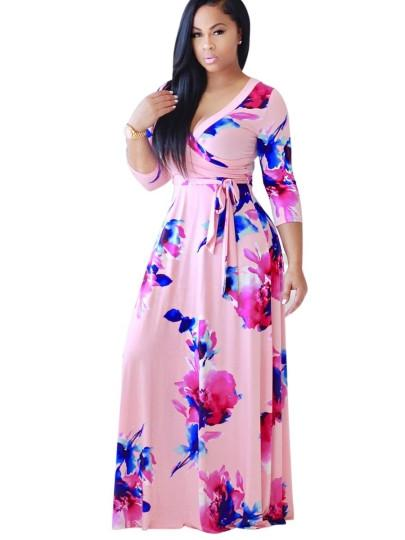 Half Sleeve Ruffle Flowers Women's Maxi Dress