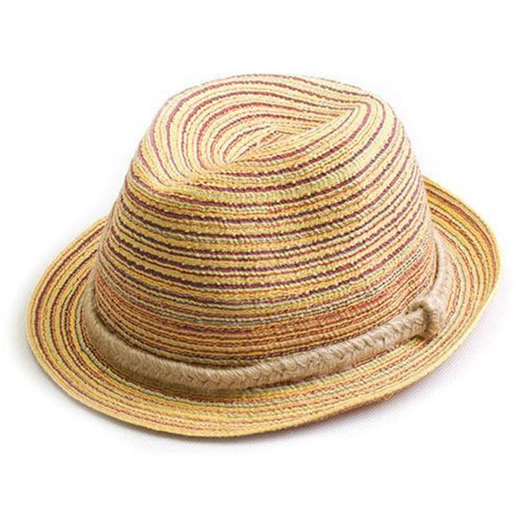 Panama Striped Foldable Straw Hat -  - Drako Store