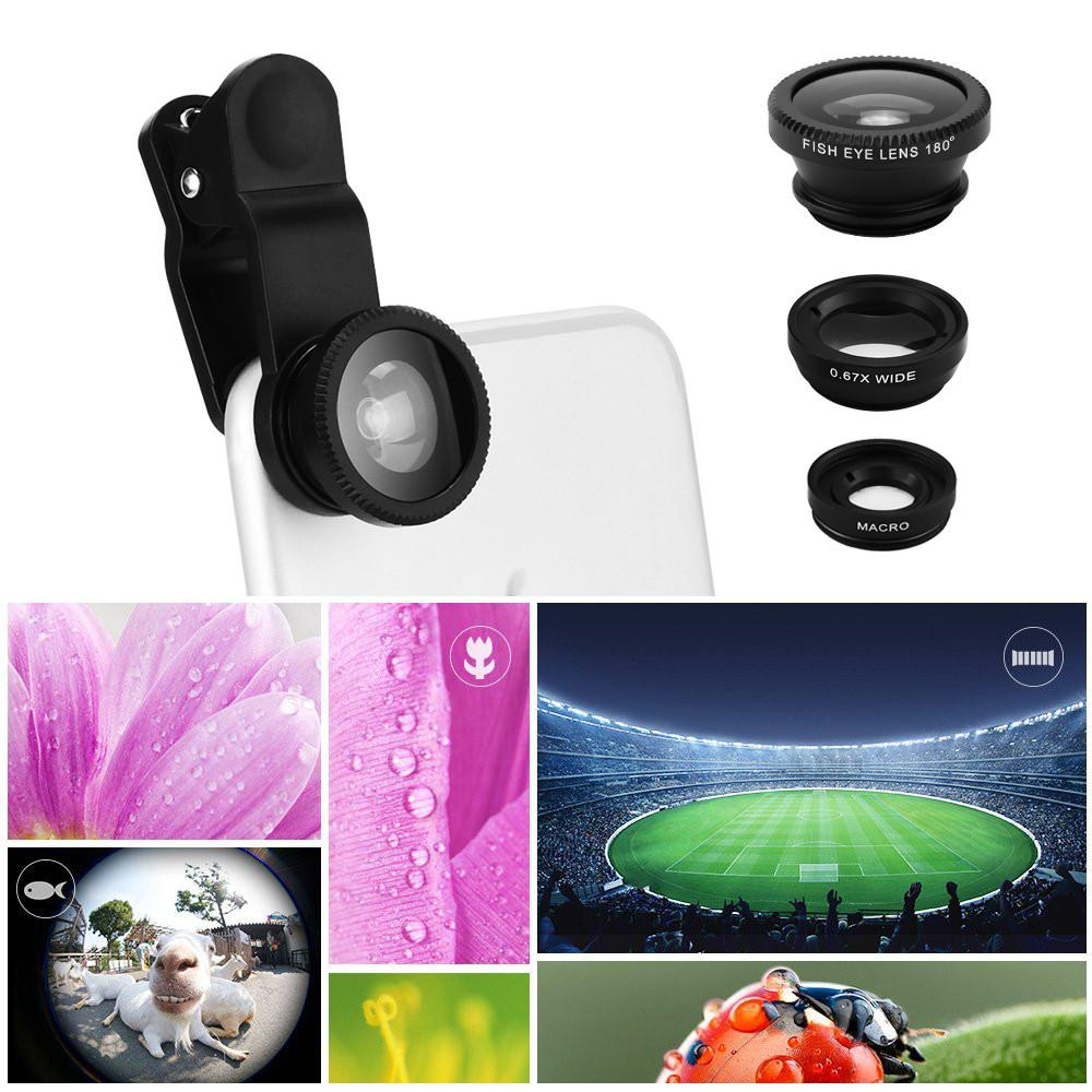 Powstro Lens 3 in 1 mobile phone Optical Lens+Wide Angle Lens 3X+Macro Lens 180 degree fisheye lens For iPhone Samsung Sony