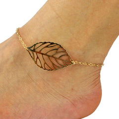 Fashion Punk Metal Leaves Ankle