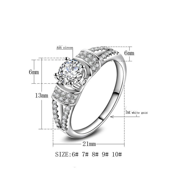 Women Fashion Jewelry Silver White Zircon Wedding Ring Size 10