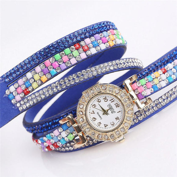 CCQ Women Fashion Casual Analog Quartz Women Rhinestone Watch Bracelet Watch -  - Drako Store