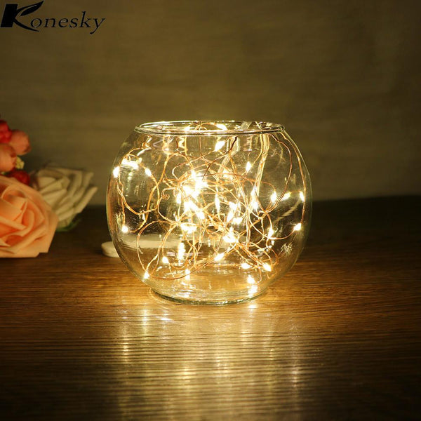 Konesky 2M LED Copper Wire Strip Fairy Lights 20 Leds for Festival Christmas Wedding Party Home Decoration Lamp