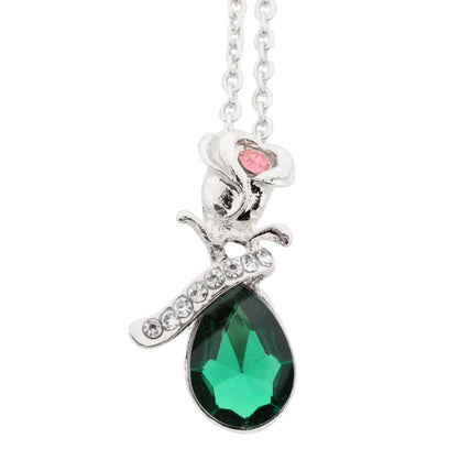 Women Jewelry Crystal Rose Pendant Necklace A